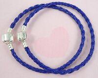 10pcs Blue Charm Leather Bracelets Fit European Beads 20cm P11-5