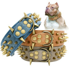 Spiked Studded Dog Collar Leather Heavy Duty for German Shepherd Pitbull K9 Dogs