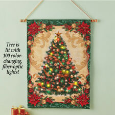 Cordless Lighted Color-Changing Fiber Optic Christmas Tree Wall Tapestry