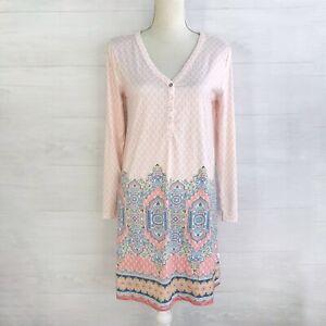 Echo Sleepwear - Pink & blue V-neck long sleeve sleep dress, M