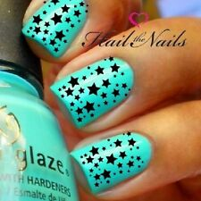 Nail Wraps Art DECAL for Acrylic False Natural Water TRANSFER Black Stars Y143