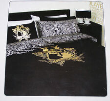Playboy Black Gold Crest Double Bed Quilt Cover Set New