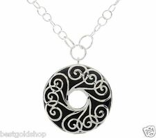 "18"" Black Onyx Swirl Design Necklace Chain Real 925 Sterling Silver QVC SOLD OUT"