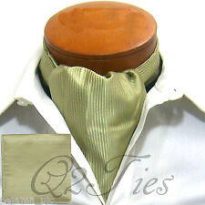 MEN'S Mini Stripes OLIVE Slipknot Style Casual Ascot Cravat & Hanky 2pcs Set
