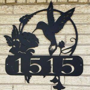 "Hummingbird Address Sign 24"" Metal Plasma Cut Sign Art Bird Flower Nature"
