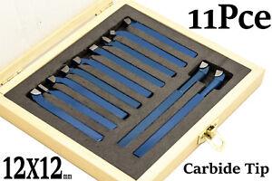 11 PC 12x12 mm CARBIDE TIP CUTING TOOL BIT SET FOR METAL LATHE TOOLING