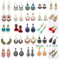 1 Pair Vintage Women Rhinestone Ear Stud Earrings Crystal Chain Fashion Jewelry