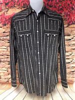 Lucky Brand Jeans Mens Snap Front Western Shirt Black White Long Sleeve Size S