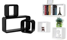 Set Of 3 Wooden Floating Cube Shelves Wall Hanging Storage Display Home Décor