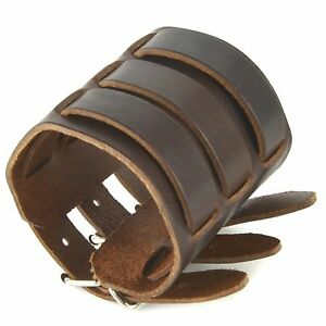 Brown Genuine Leather Triple Strap Wristband Buckle Arm Bracer cosplay steampunk