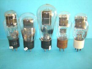 lotto di cinque valvole radio solo per collezione.  lampe Röhre.  display only