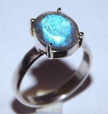 3.40 Gm Natural Labradorite Ring 925 Solid Sterling Silver Ring Size 7 K-578