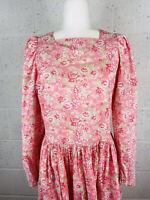 VINTAGE floral LAURA ASHLEY/GREAT BRITAIN Cotton Tea Dress Puff Sleeve Prairie 8