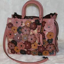 COACH 1941 Tea Rose Applique Rogue Satchel Leather Tote Bag Purse Melon $1200
