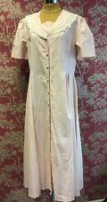 Vintage Laura Ashley Pink Cotton Linen Dress Lace Collar Size 18 c1980's
