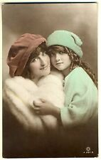 Lovely Mother / Daughter, Girl, Antique Tinted 'ROTARY' Real Photo Postcard