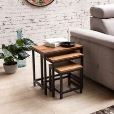 Conjunto de mesa lateral de 3 Sheesham madera maciza patas de metal mesita baja