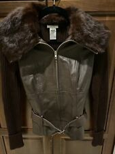 Cache Small Zip Leather Jacket With Rabbit Fur Trim