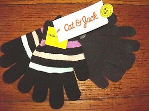 Girls' 2pk Solid Striped Gloves - Cat & Jack; Gray/Black Either Hand 7 to 15