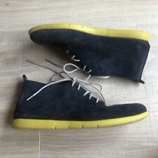Aerosoles Aergo Shoes 8.5 M Skip On Navy Blue Suede Lace Up Booties Yellow Soles