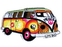 Camper Van Patch 11cm x 7cm Love Peace Embroidered Iron Sew On Flower Hippy