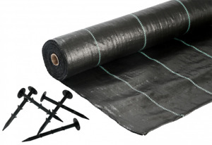 Heavy Duty Weed Control Membrane Weed Mat & Bag of 20 Weed Mat Ground Pins 15cm