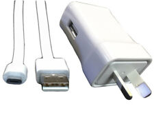 Fast Charging Australia New Zealand Travel Plug with 3' White USB Micro Cable