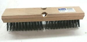 """Magnolia Brush Carbon Steel Wire Deck Brushes 12"""" Deck Scrub 412-S Wood Handle"""