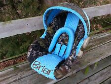 Camo Infant Car Seat Cover, Mossy Oak and Turquoise Blue Minky, Personalized