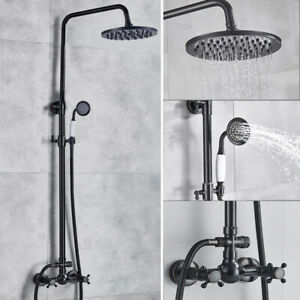 Oil Rubbed Bronze Black Bathroom Rain Shower Faucet Set Mixer Taps Wall Mounted