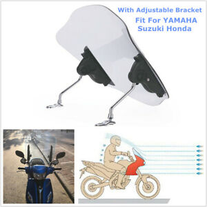 Motorcycle Scooter Windshield w/ Adjustable Bracket Fairing Fit For Universal