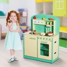 Cocinita de Juguete Verde de Madera con 12 Accesorios 70x30x88cm Niños +3 Años