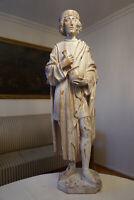 Riesige Alte Holz Figur geschnitzt Apotheker mit Mörser 86 cm 7 kg um 1900/20