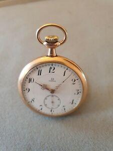 Omega Taschenuhr Gold 14 kt, generalüberholt vom Uhrmachermeister