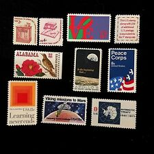 Beginner Stamp Collector Ten US Postage Stamps Lot Love Peace Corps Apollo 8