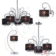 Lampe Suspendue Applique Murale De Table Noir Cristal Tissu Chrome Lustre Black