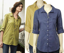 Button-Down Casual 100% Cotton Tops for Women