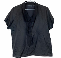 Trenery Womens Black Short Sleeve Silk Blend Blouse Size M