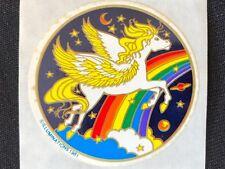 1 VINTAGE 80's ILLUMINATIONS UNICORN FLYING THROUGH RAINBOW  STICKER 1979