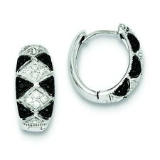.925 Sterling Silver Black & White CZ Pave 9.25mm Hinged Huggie Hoop Earrings