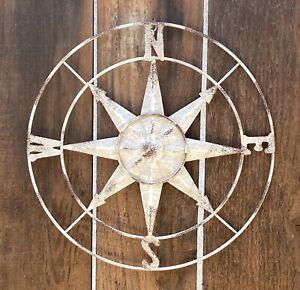 Rustic Farmhouse Metal Compass Wall Art Home Decor Brown White