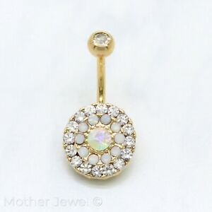 14K YELLOW GOLD IP OPAL CLEAR RAINBOW AURORA CLUSTER BELLY BUTTON NAVEL RING