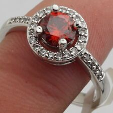 Size 9 Deep Red Round Cubic Zircon White Gold Plated Ring +Gift Pouch (11)