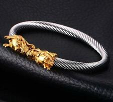 Biker Stainless Steel Cable Wire Cuff Bangle Gold dragon Charms Mens Bracelet