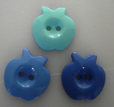 6  BOUTONS Bleu 3 tons NEUFS * 22 mm  2 trous 2,2 cm button sewing blue couture