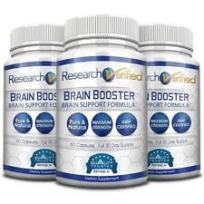 Research Verified Brain Booster - Brain Supplement Nootropic (3 Bottles)