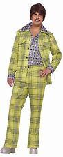 Mens Leisure Suit Costume 70s Disco Hippie Green Orange Blue Plaid Jacket Adult