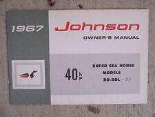 1967 Johnson Super Sea Horse 40 HP Outboard Motor Owner Manual Model RD RDL  Q