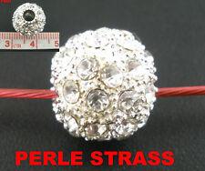 Perle de verre argenté strass ronde bracelet serpent collier serpent