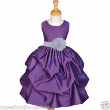 PURPLE FLOWER GIRL DRESS PICK-UP PAGEANT HOLIDAY EVENT WEDDING SMALL 2 4 6 8 10